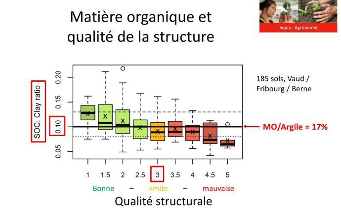 Lien entre notation du test bêche VESS et ratio carbone organique/taux d'argile.